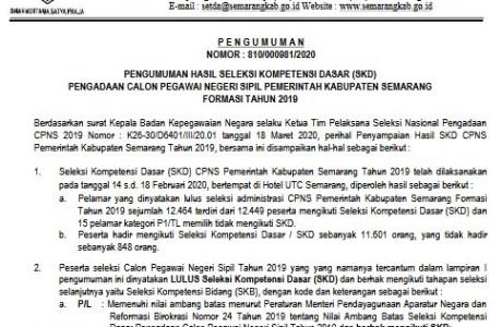 Pengumuman Hasil SKD CPNS 2019 Kabupaten Semarang