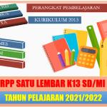 Contoh RPP Satu Lembar SD MI K13 Terbaru Tahun Pelajaran 2021/2022