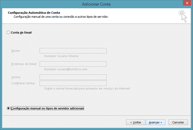 Marque diretamente a opção 'Configuração manual ou tipos de servidor adicionais' e clique em 'Avançar'