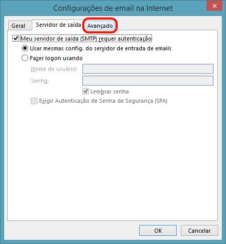 Na janela seguinte, escolha a aba 'Servidor de saída' e marque a opção 'Meu servidor de saída (SMTP) requer autenticação'. Deixe selecionada também a opção 'Usar mesmas config. do servidor de entrada de emails'
