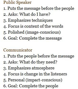 public speaker vs. communicator