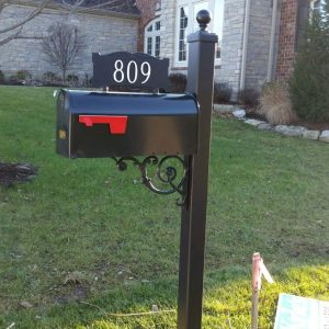 Iron Large Posts w/ estate design and cast address sign