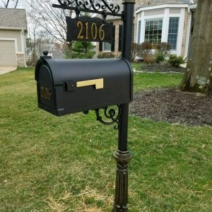 Iron Estate post, 1015 box and cast address sign