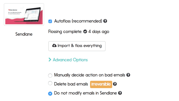 Sendlane email verification options