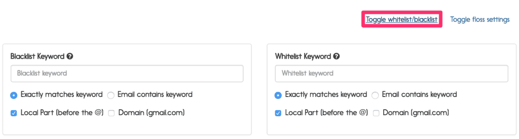 whitelist:blacklist options
