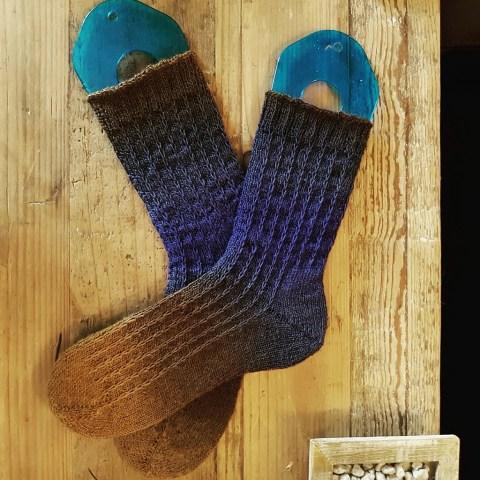 Tricot Chaussettes Slip Stitch Lines