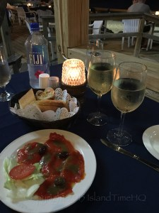 Roasted peppers and vino at Daniel's by the Sea