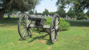 A Civil War era cannon on display at the Gettysburg Cemetery
