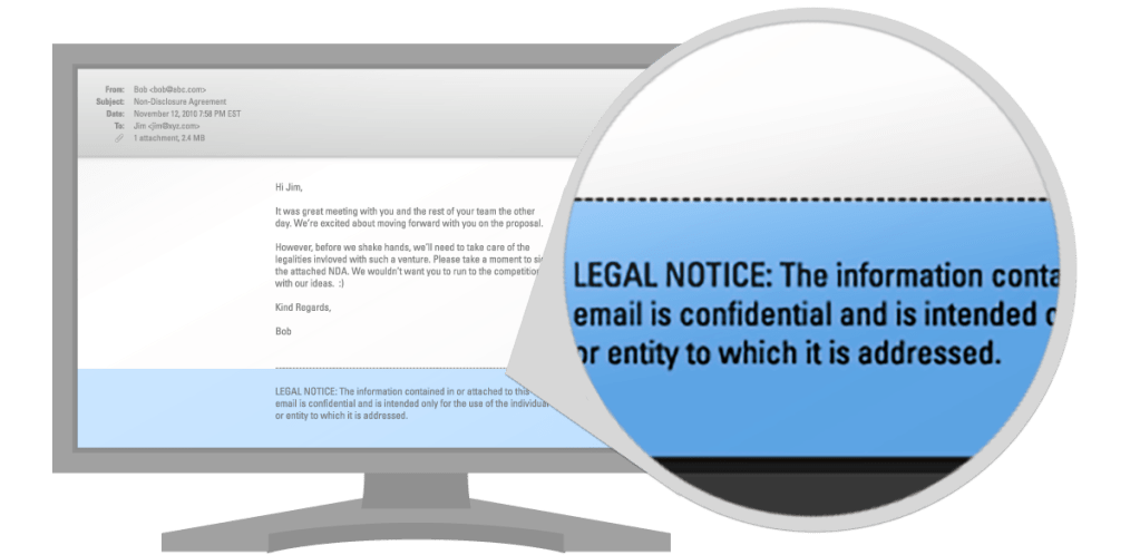 Custom legal compliance footers