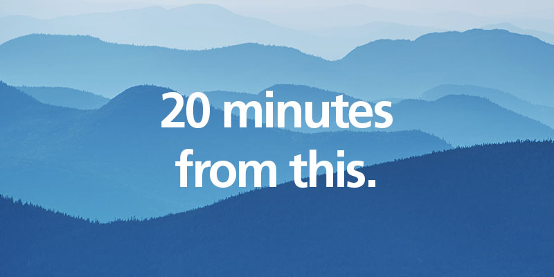 Mailprotector is 20 minutes from the mountains
