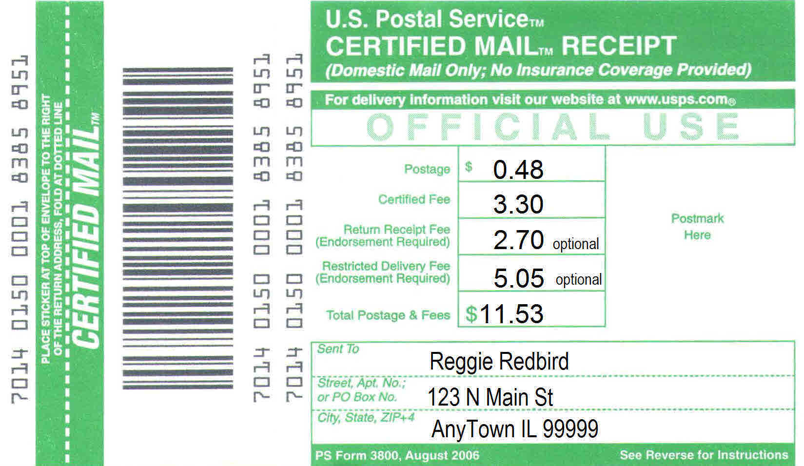 Certified Mail Receipt Tracking