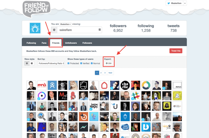 use FriendOrFollow to get a full list of your competitors' Twitter friends.
