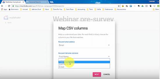 Mailshake map CSV columns screenshot