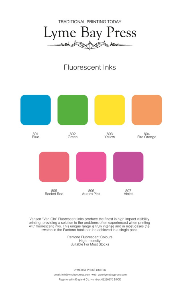 Lyme bay Press Flourescent inks