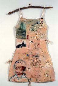 "Mj Viano Crowe, ""Deghawanus: The Sound of Two Voices Falling"", Drawing, painting, collage on paper, Dress Forms are life size, approximately 2' w x 3'.5""h, some on hand-made hangers, 2000"