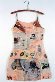 "Mj Viano Crowe, ""Wichita Girl"", Drawing, painting, collage on paper, Dress Forms are life size, approximately 2' w x 3'.5""h, some on hand-made hangers, 2000"