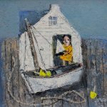 """Girl With A Boat"", oil on board, 12X16 inches"