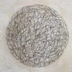 "Diane Giardi, ""Text Memories"", Detail 1, Encaustic, ink, thread"