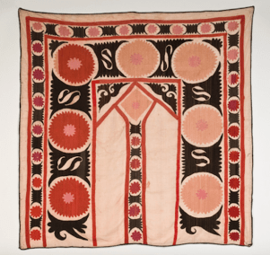 Wedding Dowry Suzani, Uzbekistan Silk Embroidery on cotton, 20th Century, 50x50, Bernard C. Meyers photo