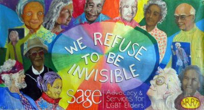 Banner completed in January for SAGE (one of the groups associated with Equality Maine)-  We refuse to be invisible! We are here, we are queer and we are taking care of LGBT elders everywhere