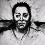 "Orson Horchler, ""Mainer Project 10"", charcoal, pen, 16"" x 16"", 2016"