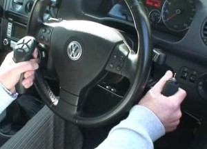 automobile with hand controls