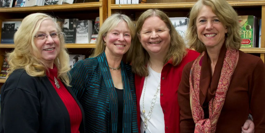Lea Wait, Kate Flora, Barb Ross and Vicki Doudera at the New England Mobile Book Fair Gala Mystery Night, December 5, 2013