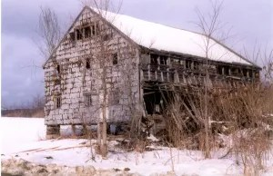 The original barn near the end of its days
