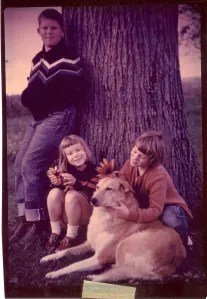 The Clark kids in front of one of the elms.