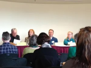 Gerry Boyle, Gayle Lynds, Paul Doiron and Lea Wait at the Maine Crime Wave