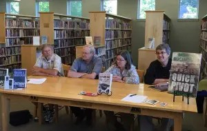 John Clark, Vaughn Hardacker, Maureen MIlliken and Brenda Buchanan talk mysteries, Maine and other stuff at the Thompson Library in Dover-Foxcroft July 14. (Diane Kenty picture)