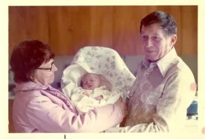 My parents with their first granddaughter Sara Beth