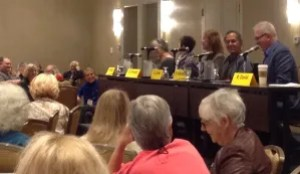 A Saturday morning panel at this year's Crime Bake talks about the secrets to success. From left, Hallie Ephron, this year's special guest Elizabeth George, Gayle Lynds, Peter Abrahams and moderator Ray Daniel, president of Mystery Writers of America, New England Chapter.