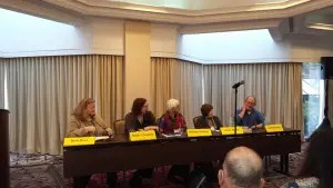 "A Crime Bake panel discussion called ""Creating Your Town, moderated by MCW blogmate Barb Ross."