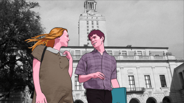 """<img alt=""""An animation of a young couple walking in front of a photographic image of the clock tower at the University of Texas"""">"""