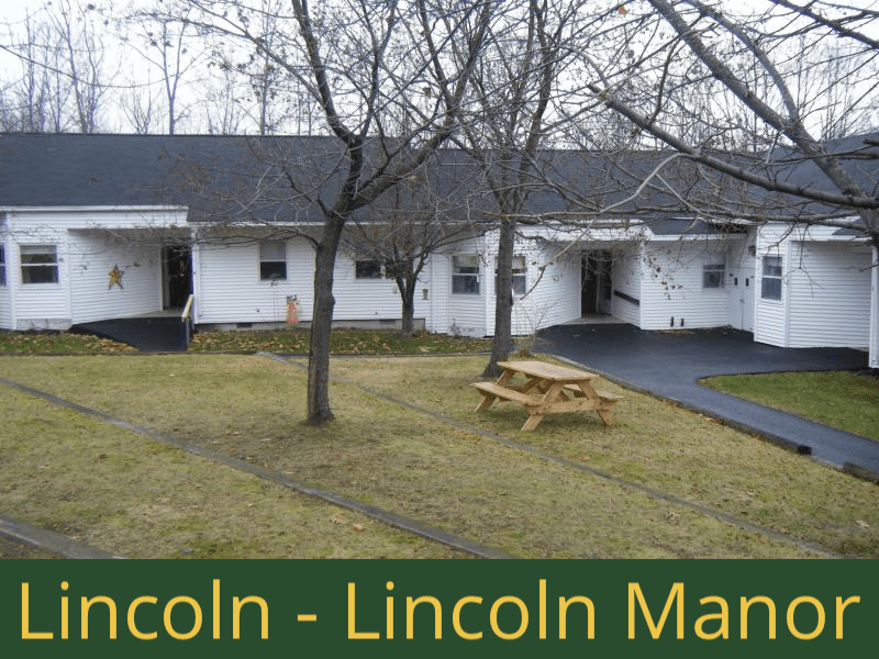 Lincoln - Lincoln Manor: 16 units total – (14) 1 bedroom apartments and (2) 2 bedroom handicap accessible apartments