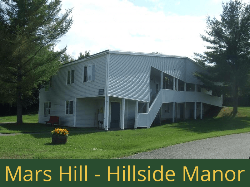 Mars Hill - Hillside Manor: 20 units total – (14) 1 bedroom apartments, (3) 1 bedroom semi-handicap accessible apartments, and (3) 2 bedroom apartments