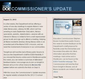 Commissioner's Update - August 23, 2012
