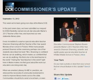 Commissioner's Update - September 13, 2012
