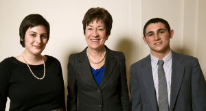Senator Susan Collins, a 1971 USSYP delegate, with Maine's 2012 USSYP delegates, Julia Brown, of Brunswick High School, and Adam Cohen, of Scarborough High School.