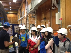 Orono High School international students visit the Advanced Engineered Wood Composites Center at the University of Maine.