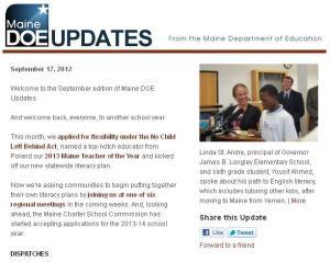 Maine DOE Updates – September 17, 2012