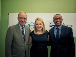 Senator George Mitchell with 2012 Mitchell Institute international fellows Amanda Hall, of Yale University, and Spencer Traylor, of Colby College, at a post-internship celebration.