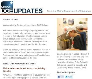 Maine DOE Updates – October 15, 2012