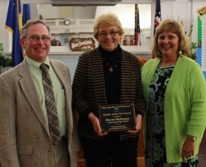 Presentation of award to 2013 Maine Agriculture in the Classroom Teacher of the Year Sharon Hathaway, of Leavitt Area High School, with Commissioner of Agriculture, Conservation and Forestry, Walter Whitcomb, and Maine First Lady Ann LePage.