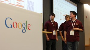 Students present at Google conference in New York City.