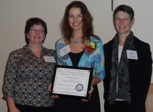 Finalist Elizabeth Vickery (center) with former science finalist Margo Murphy (left) and Maine DOE Science and Technology Specialist Anita Bernhardt.