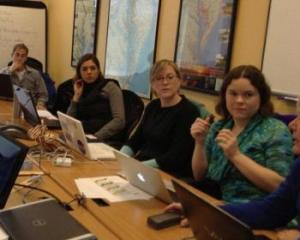 Boothbay Region High School science and environmental science teacher Lauren Graham, second from right, prepares with other teachers from around the country for the water quality pilot project with Tasmania, Australia this month.