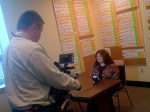 Chief Academic Officer Rachelle Tome gives interview to Bangor TV crew.