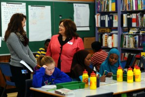 Maine DOE Acting Commissioner Rachelle Tome during a visit earlier this year to Montello Elementary School in Lewiston